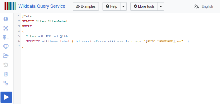 Screenshot of the Wikidata Query Service home page including the example query which returns all Cats on Wikidata.